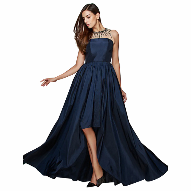 Navy Blue Prom Dresses 2017 Sheer Neck Beaded High Low Floor Length