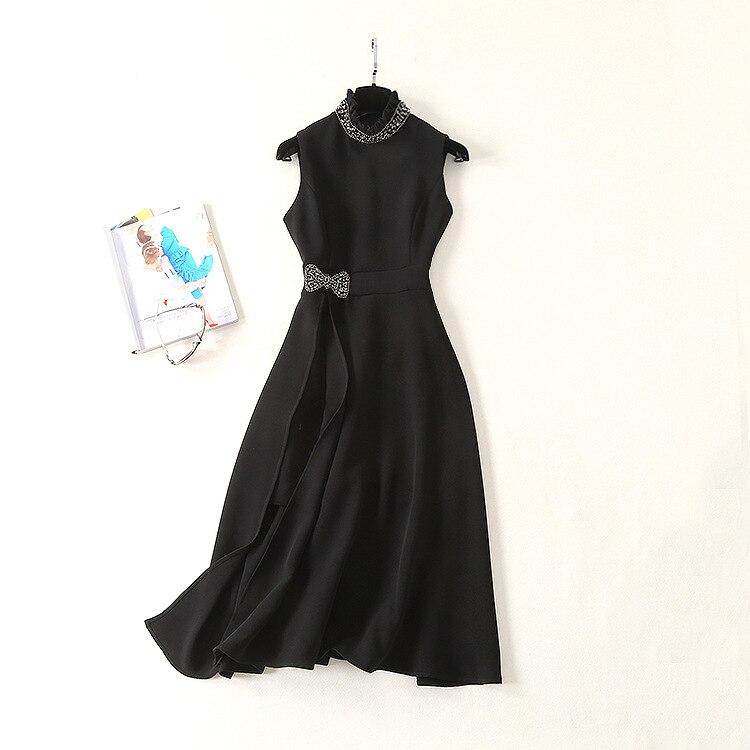 6c55441a0a 2019 Style Printemps Mode Sans Slim Nouveau De Col Femmes Perles Lourde  Manches L'industrie Robe Américain Et Européen Y8wXAA