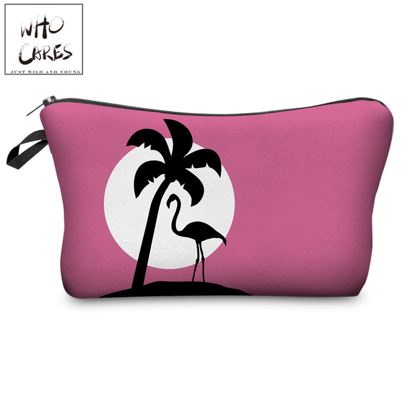 Ladies Pouch Makeup-Bags Cosmetic-Organizer Flamingo Travel Women Pink Palm Who Cares