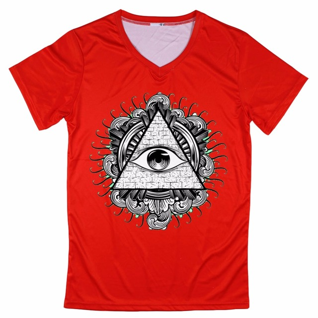 b9f2c9d6634 All Seeing Eye T Shirts Short Sleeve V Neck 3D Men T-Shirt slim fit Cool  Man Tees hot sale clothes