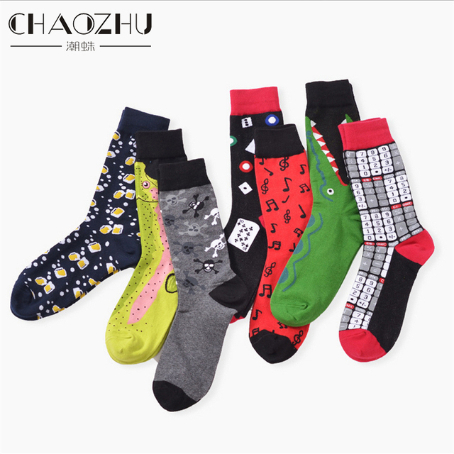 39 45 socks brand women mens novelty socks combed cotton christmas gift chausettes homme animal - Christmas Socks For Men