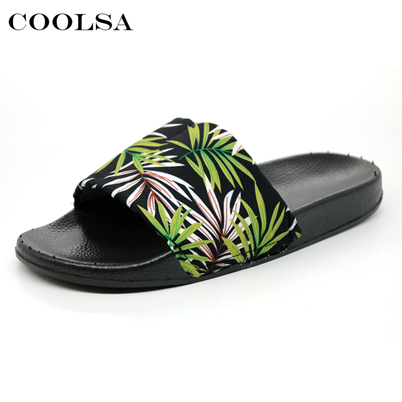 Coolsa Summer Women Printing Flip Flops Canvas Print Leaves Female Soft Flat Slides Indoor Slippers Fashion Casual Beach Sandals 4