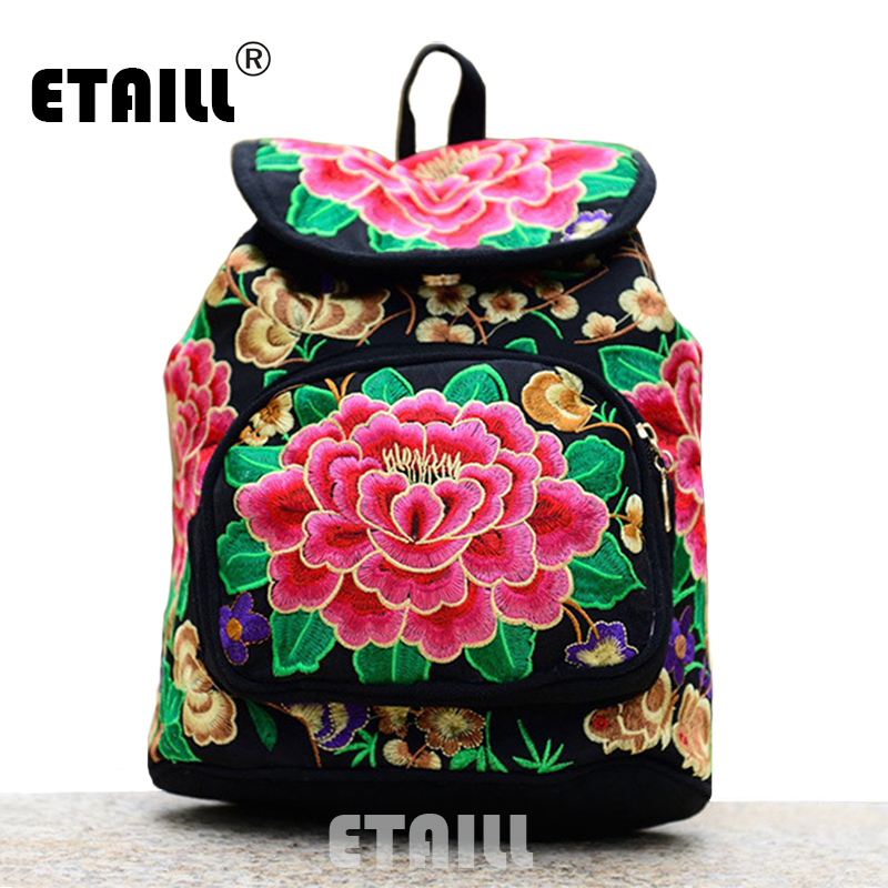 National Trend Ethnic Canvas Embroidery Backpack Women Handmade Boho  Thailand Embroidered Bag Schoolbag Rucksack Sac a Dos Femme 0e05d61ccdb