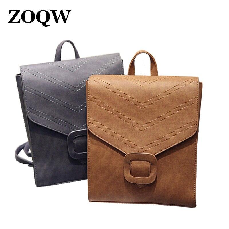 337e9b9596b 2018 New Vintage Women Shoulders Bag ladies backpacks High Quality PU  Leather School Bag Travel Backpack