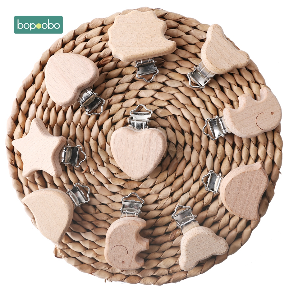 Bopoobo 2pc Baby Accessories Natural Wooden Wooden Animal Pacifier Metal Clips Holder Heart Pacifier Wooden Baby Teether