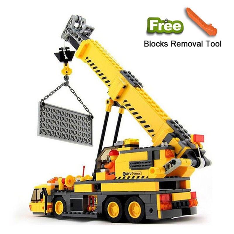 Juguetes para coches de grúa de ingeniería iluminan bloques de construcción compatibles Legoe City Sets educativos ladrillos regalos para niños guindaste