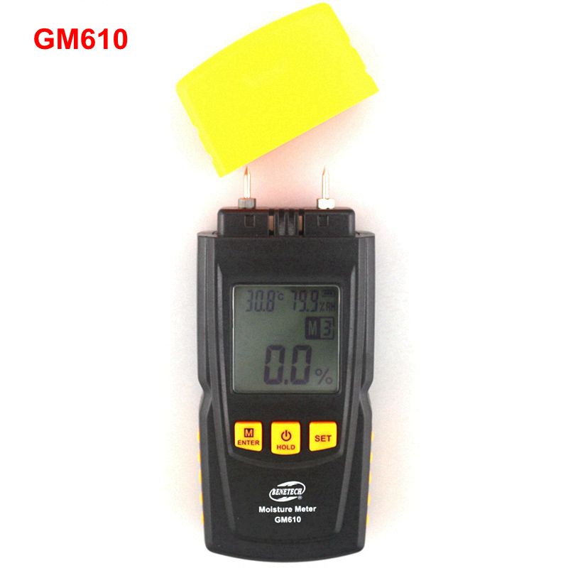 GM610 Handheld Wood Moisture Meter with Temperature Humidity Tester LCD Backlight handheld professional humidity and temperature sd data logger with built in internal