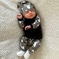Bebê Menino Roupas 3 PCS Olá Mundo Carta de Algodão de Manga Longa Macacões Para Recém-nascidos Infantil Primavera Outono Ternos Roupas Menino conjuntos