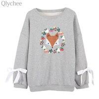 Qlychee Autumn Winter Women Fleece Pullover Cute Fox Embroidery Bow Sweatshirt Streetwear Casual Loose Tracksuit