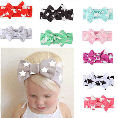 New Lovely Five Star Kids Girls Beauty Band Headband Toddler Baby Bow Flower Infant Hair Band Cute Accessories