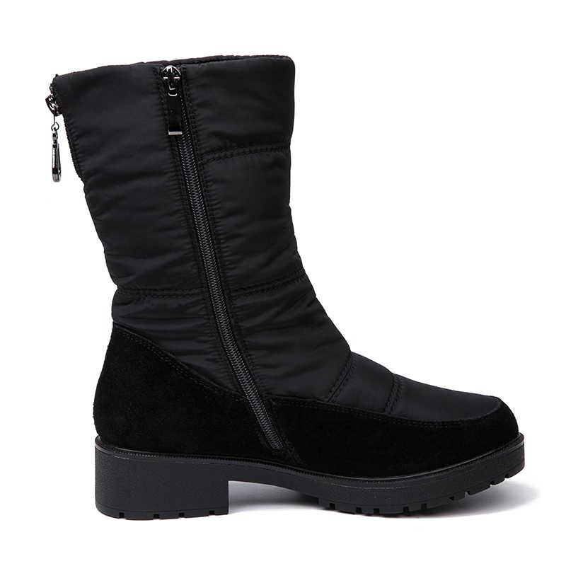 AIMEIGAO 2018 nuevas botas de nieve para mujer botas de abrigo de piel de invierno zapatos de tacón cómodos bajos gruesos impermeables