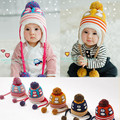 New autumn and winter boy and girl infants and children baby penguin ear cap plus velvet warm wool knit hat big ball beanies cap