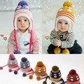 Nuevo otoño y el invierno niño y niña de los bebés y niños bebé pingüino gorro de lana del casquillo del oído de terciopelo de lana caliente gran bola gorros cap