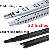 22 Inches Cold rolling steel Drawer slide rail three section wardrobe ball slide rail track hardware fittings