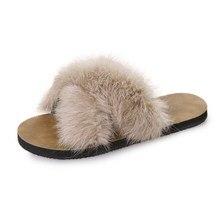 Discount Hot Women Slippers Home Plush Flip Flops Slides Fashion Faux Fur  Spring Summer Autumn Plat  Solid Color large size 40 цена
