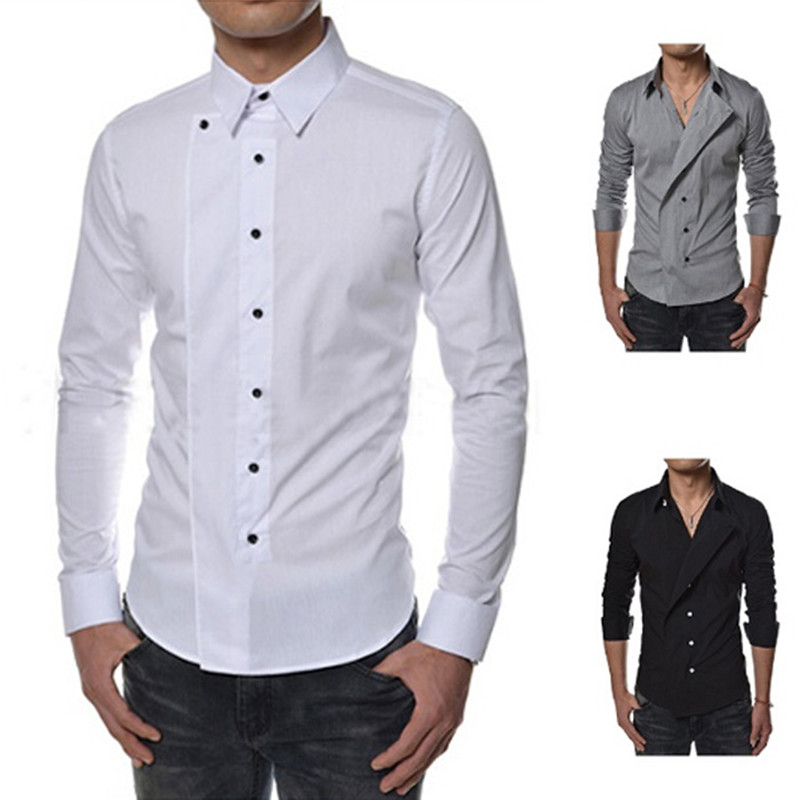 2016 Spring Fashion Mens Luxury Stylish Casual Long Sleeve Dress ...