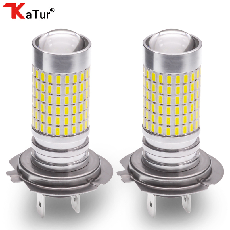 Katur 2x H7 Led Bulbs for Cars Fog Lights Daytime Driving Lamp DRL 6000K White 1500Lm Auto Leds Running Light DC 12V For DRL