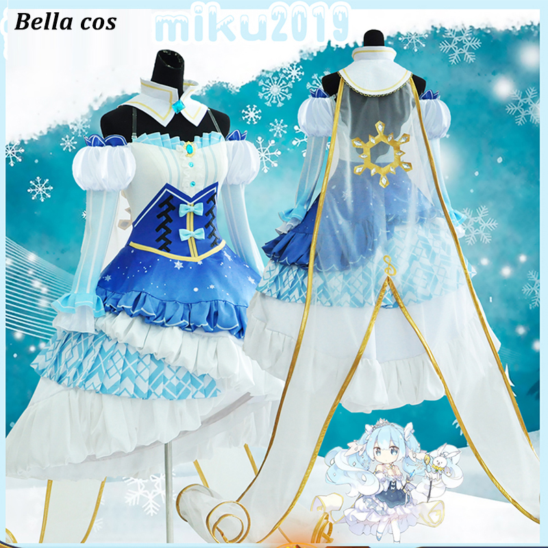 Vocaloid Snow Hatsune Miku Dress fancy dress Outfit Cosplay Costume Wig Shoes