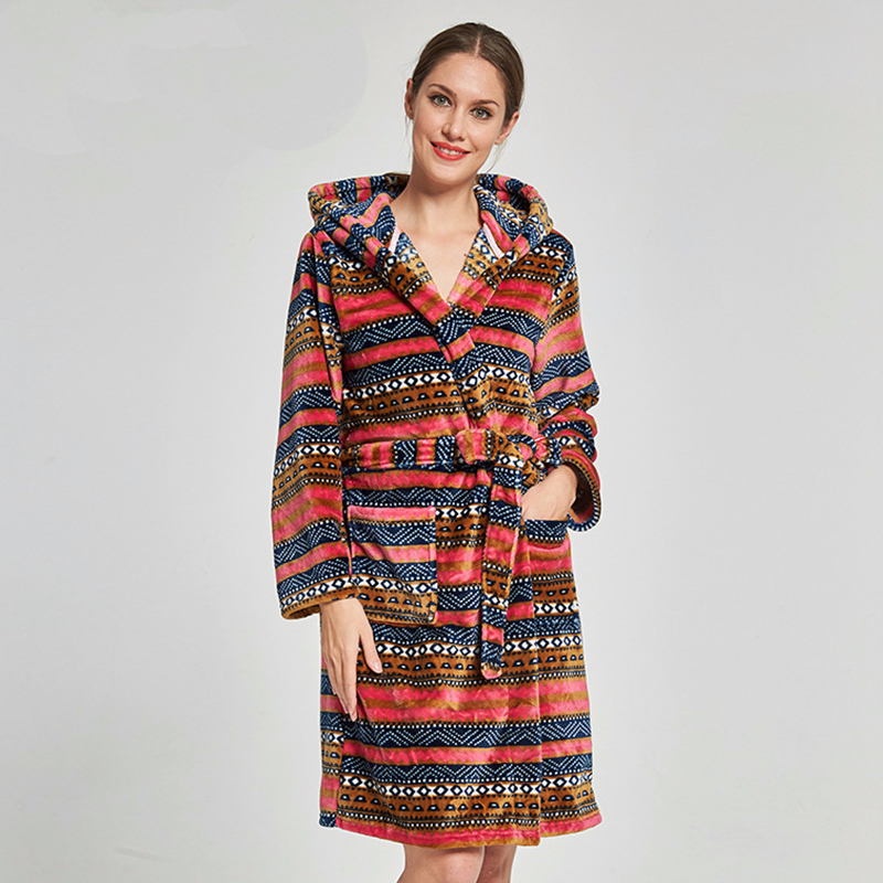 63e4c8cf06 Detail Feedback Questions about Female Hooded Flannel Sleepwear Winter Thick  Warm Kimono Bath Robe Long Sleeve Nightgown Casual Home Dressing Gown ...