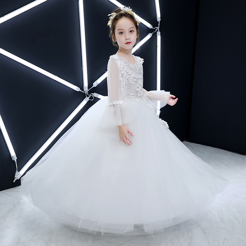 Luxury Princess Dress White Appliques Flower Girl Dresses Wedding Evening Dress Flare Sleeve Kids Formal Dress Birthday CostumeLuxury Princess Dress White Appliques Flower Girl Dresses Wedding Evening Dress Flare Sleeve Kids Formal Dress Birthday Costume