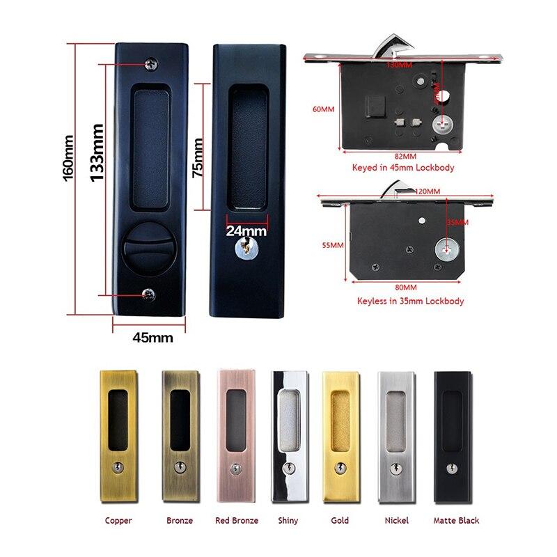 Privacy Mortise Sliding Door Lock Pocket Door Lock Hook Latch 35-50MM Door Top Hung Bathroom Bedroom