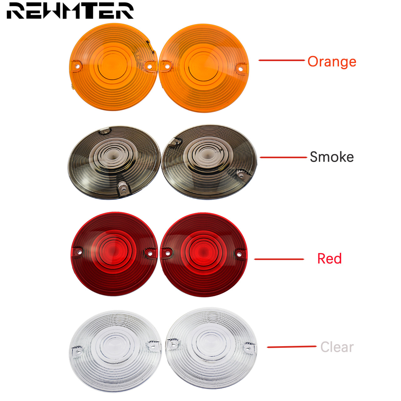 4PCS Motorcycle Turn Signal Light Lens Cover Headlight Covers Orange Smoke Red Clear For Harley Touring Softail Road King FLTR