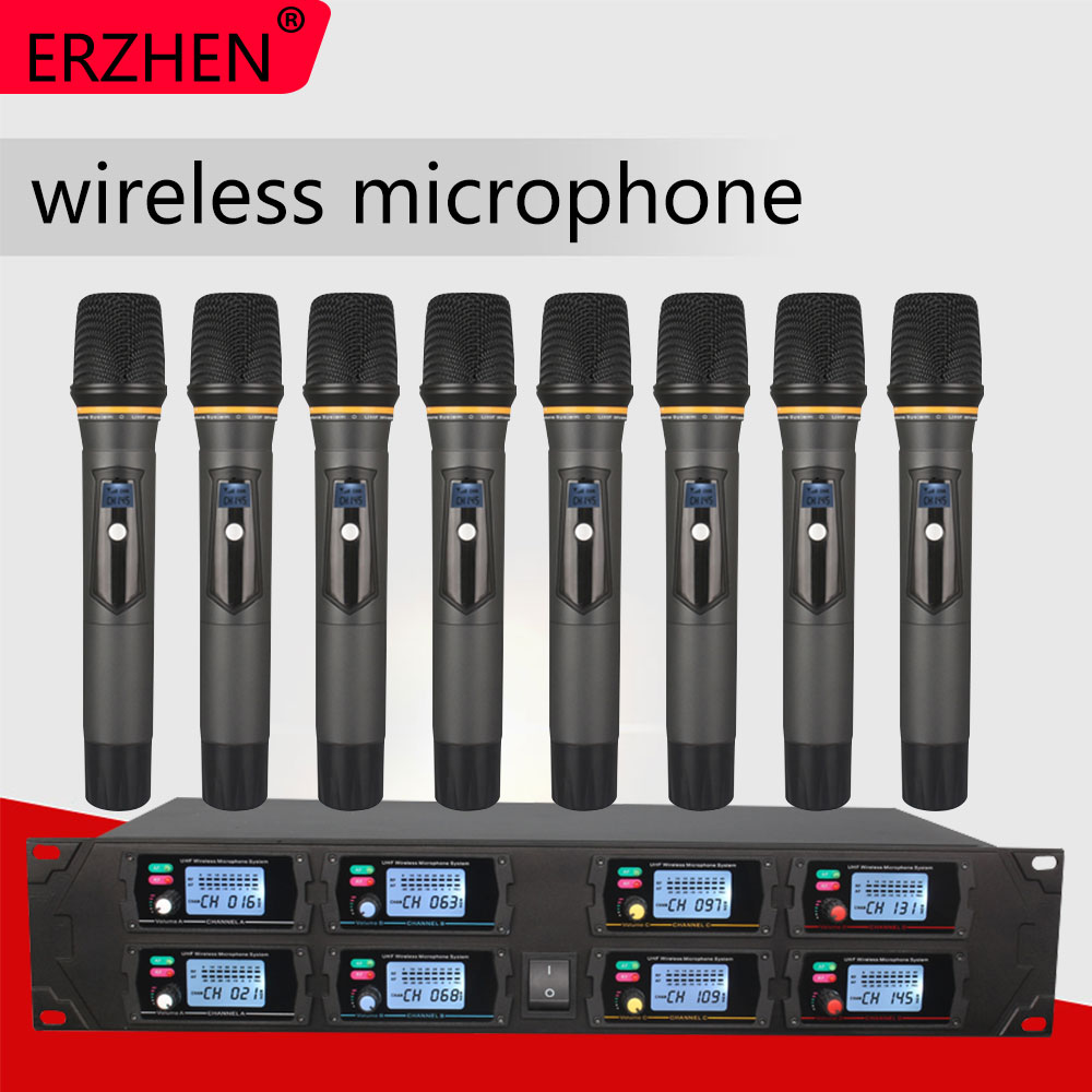Wireless Microphone New U8000GTA UHF 8 Channel Fixed Frequency + Dynamic Screen + KTV + Professional Microphone