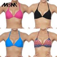 M&M Women Bikini Top Micro Bikini Samll Push Up Ruched String Solid Swimwear Beach Sexy Swimsuit Sporty Girls Beach Wear T606