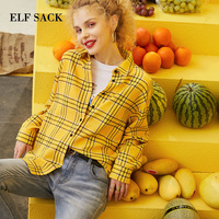 ELF SACK 2019 Spring New Loose Cotton Shirts Woman Turn down Collar Plaid Ladies Blouse Lace Knitted Oversized Femme Shirts