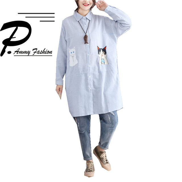 d1245120367 Womens Plus Size Striped Embroidery Cat Pattern Linen Cotton Mid-Long  Blouse 2017 Autumn Oversized Long