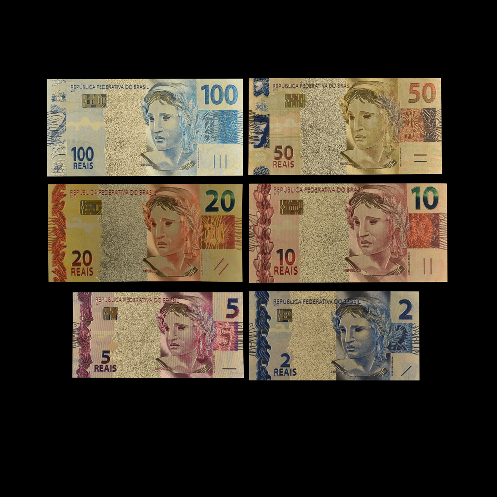 Boutique 6Pcs/Set Color Brazil 2/5/10/20/50/100 Reals 24K Gold Banknote Fake Money Bills Decorations And Gifts
