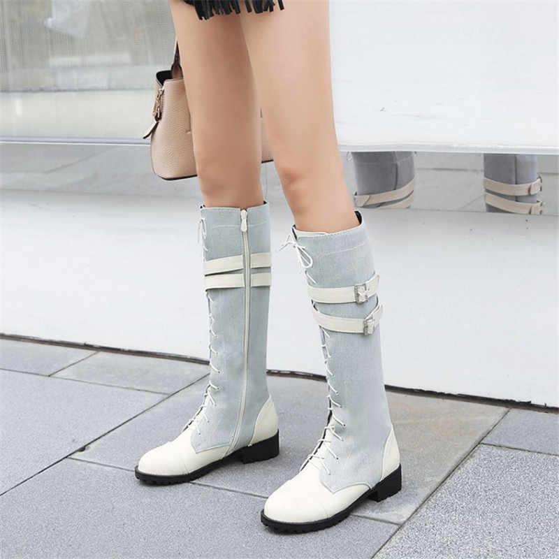 Mode Winter Combat Laarzen Voor Wome Kleur Blok Pu Leer + Denim Knie Hoge Laarzen Gesp Lace Up Rijden boot Big Size 33-46