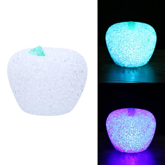 Colorful LED Changing Lights EVA Night Kids Toys Apple Gradient Crystal Led Lamp with Button cell for Christmas Holiday Gift