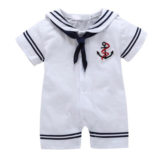 91aaa9ea6 Roupas de bebê Menino Macacão de Bebê Verão 2017 Roupas de Bebê Menino  Marinha Roupa Do
