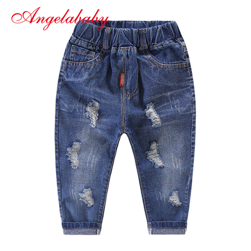 2019 Autumn Fashion Baby Boys Pants Children's  Hole Jeans Cartoon Source High Waist Pants for Boys Kids Clothes(China)