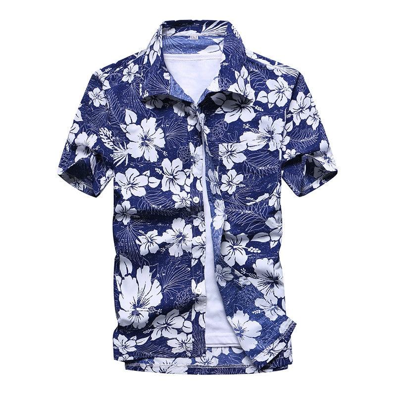 2021 Fashion Mens Short Sleeve Hawaiian Shirt Fast drying Plus Size Asian Size M-5XL Summer Casual Floral Beach Shirts For Men 4