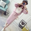 2017 new hot sale women's autumn winter o-neck ninth sleeve two-pieces knit sweaters set woman loose sweater skirt 4 colors 1108