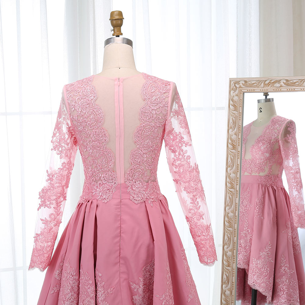 BeryLove Short High Low Pink Homecoming Dresses Long Sleeves Lace  Homecoming Dress 2018 Party Gowns Graduation Dresses Style-in Homecoming  Dresses from ... 38732625a46f