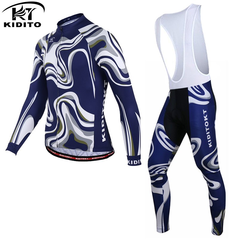 KIDITOKT 2017 Winter Thermal Fleece Cycling Jerseys Set MTB Bike Clothing Racing Bicycle Clothes Maillot Ropa Ciclismo Invierno