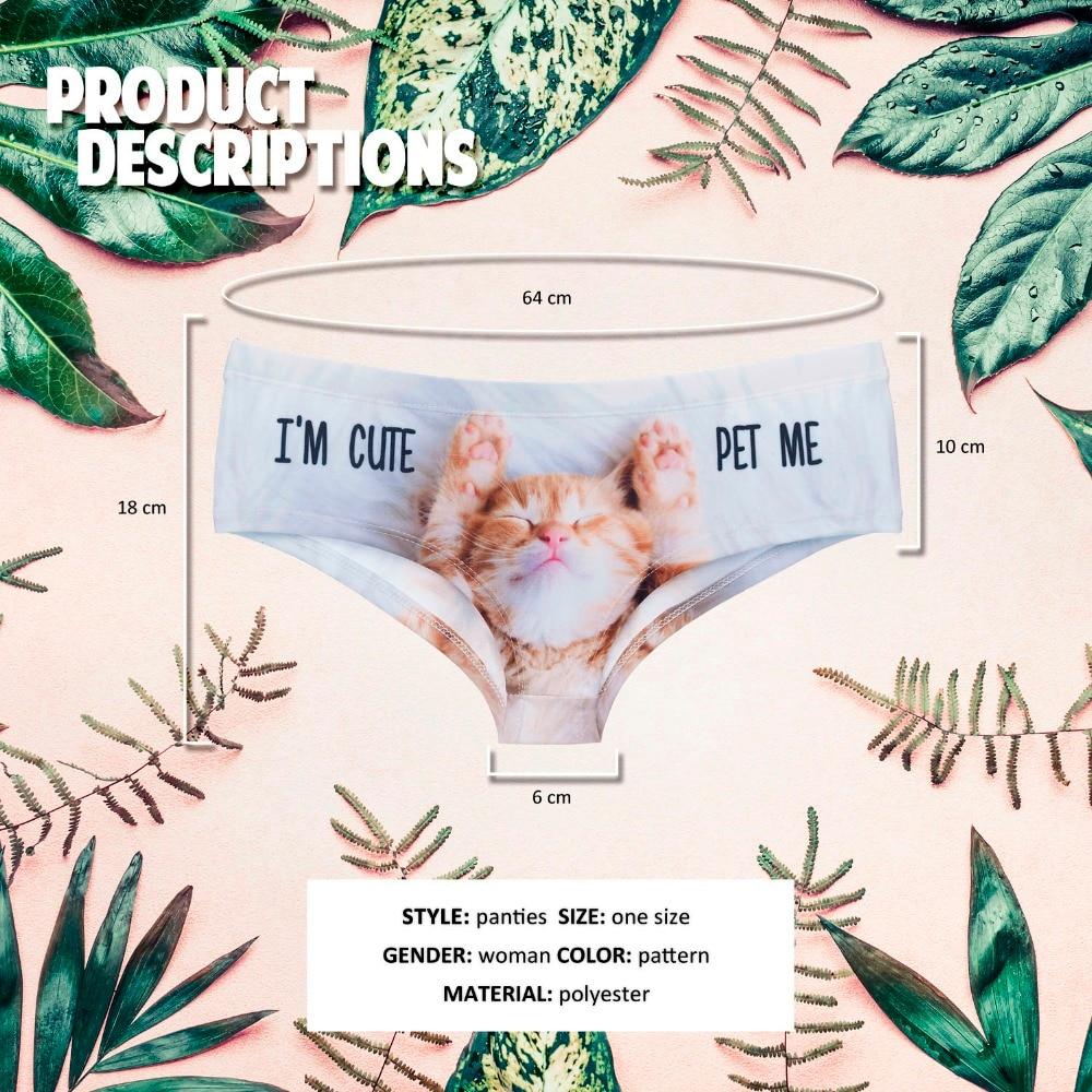 LEIMOLIS Sleepy Cat Animal funny print sexy hot panties female kawaii Lovely underwear push up briefs women lingerie thongs in women 39 s panties from Underwear amp Sleepwears