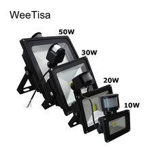 LED Flood Light Outdoor PIR 10W 20W 30W 50W 110V 220V LED Floodlight Spotlight Motion Sensor Reflector IP65 Waterproof Wall Lamp ce waterproof good quality high power 30w led wall washer outdoor led spotlight ds t27 30w 110v 220vac 2 year warranty