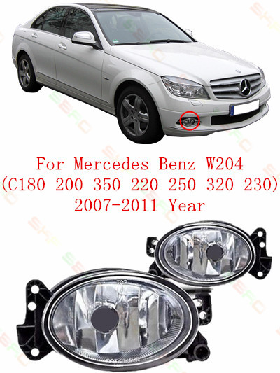 For mercedes-benz W204  C180/200/350/220/250/320/230  2007/08/09/10/11  Fog Lights car styling  Oval for mercedes benz w163 1998 99 2000 01 02 03 04 05 car styling fog lights 1 set