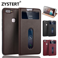 New For VIVO X20 Luxury Magnetic Flip Genuine Leather Ultra Slim Men Shockproof Stand 2 Window