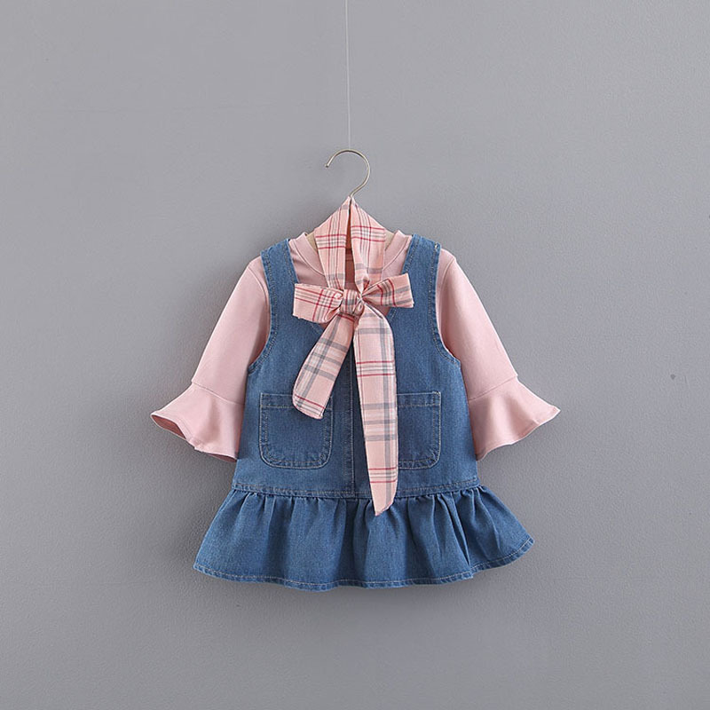 Baby Girl Dress Vestido Infantil Spring Falbala Straps Slip 0 To 3 Years Old Female Baby 7 Minutes Of Sleeve Princess Dress