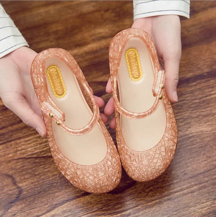Mini Melissa Girls Crystal Sandals Summer 2018 New Children Mesh Holes Girls Breathable Jelly Shoes Girls Sandals Shoes