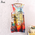 Vintage 2015 summer European town Print Slim Vest long Vest Fashion Basic Shirt Sexy sleeveless T-shirt Free Shipping