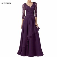 Dark Purple Mother Of The Groom Dress A line V neck Half Sleeve Appliques Bridal Mother Dresses Chiffon Long Party Gown CM044