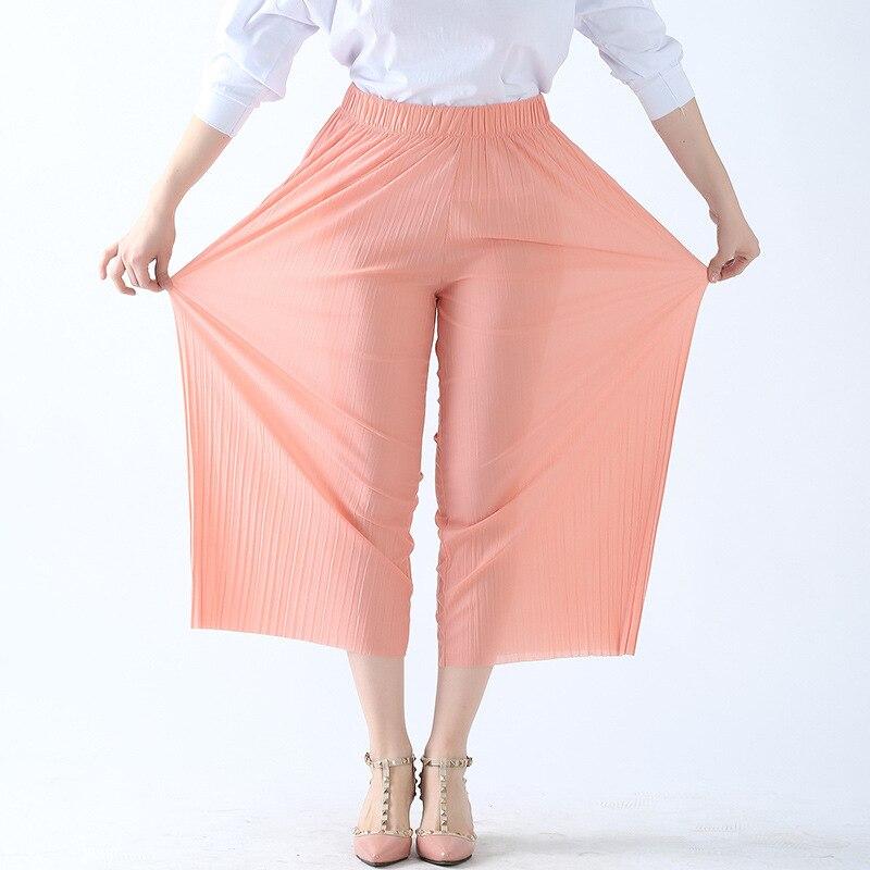 2019 Spring autumn Cotton chiffon Pajama Pants Pleated Women Sleep Bottoms Lounge Wear Loose Home sleep Pants For Women