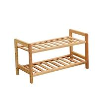 2 Tier Solid Wood Shoe Cabinet Shoe Shelf Simple Shelf Flower Rack Size:50x55x25cm