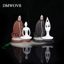 hot deal buy dmwovb burner creative home decor ceramic yoga girl censer backflow incense cones burner towel incense holder home studio decor